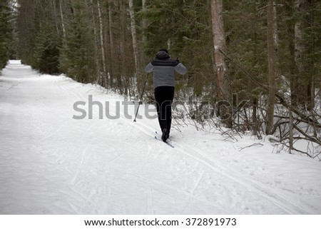 Forest. Man enjoy cross-country skiing - stock photo
