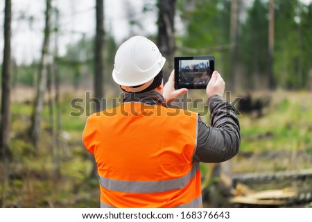 Forest Officer with tablet PC in destroyed forest - stock photo