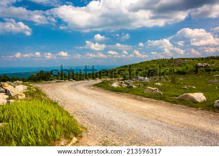 Forest Road 75 at Bear Rocks Preserve, in Dolly Sods Wilderness, Monongahela National Forest, West Virginia. - stock photo