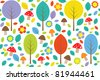 Forest seamless pattern with colorful trees, leafs, mushrooms and flowers. Raster version. - stock photo