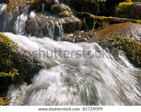 Forest stream running over mossy rocks in Alps - stock photo