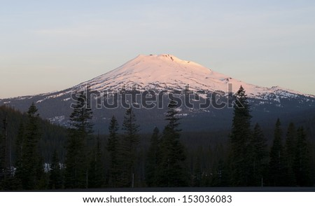 Forested area around Mt. Bachelor in the Oregon High Cascades - stock photo