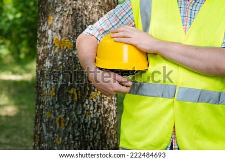 forester man in helmet - stock photo