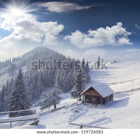 Forester's hut covered with snow in the mountains - stock photo