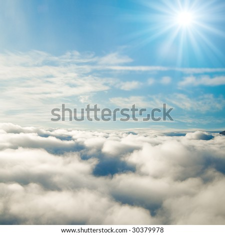Forever sunshine at 35000 feet! - stock photo