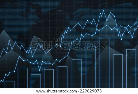 Forex chart with world map background. Trading concept  - stock photo