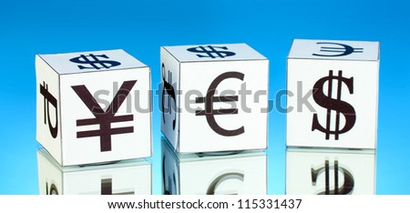 forex. currency in the white dices on blue background - stock photo