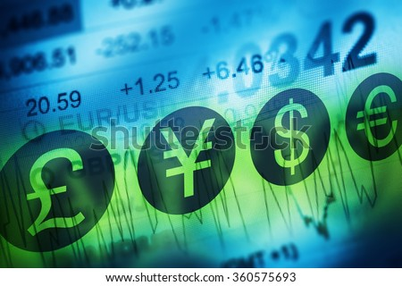 Forex Currency Trading Concept. Financial Markets and Global Economy Concept. United Kingdon Pund, European Euro, American Dollar and Japanese Yen Currency - stock photo
