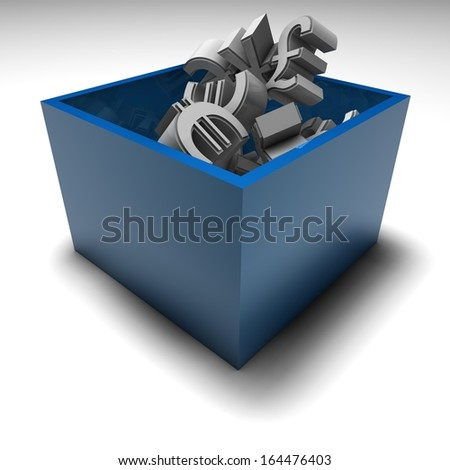forex market concept with money symbols in box, 3d render - stock photo