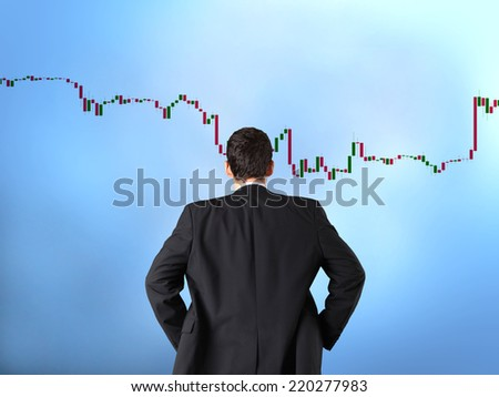 Forex trading concept with businessman - stock photo