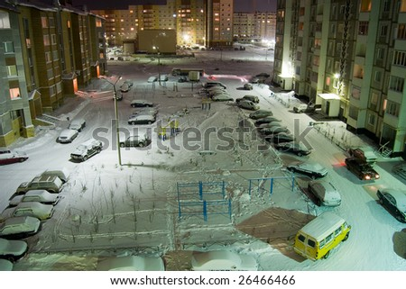 foreyard with cars - stock photo