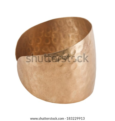 forged copper bracelet on a white background - stock photo