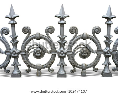Forged decorative fence with shadow isolated over white background - stock photo