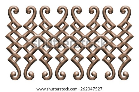 Forged gate in dark metal isolated on white background. - stock photo