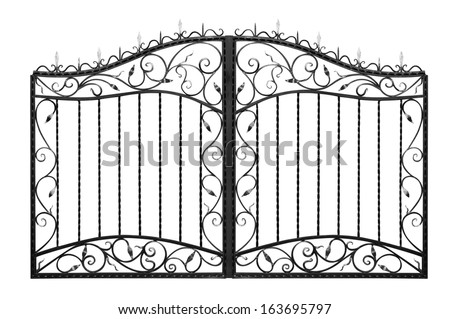 Forged gate. Isolated on white background. - stock photo