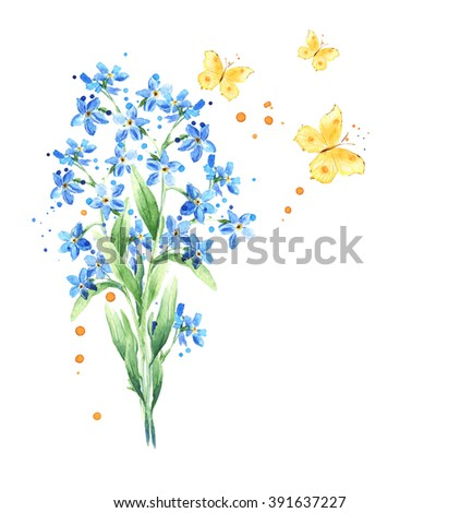 Forget-me-not flowers bouquet, butterflies isolated on white background. Watercolor design elements. Spring floral background - stock photo