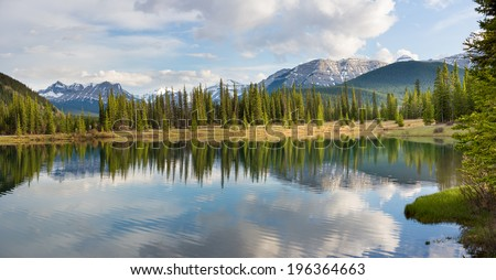 Forgetmenot Pond in Elbow River Valley, Alberta, Canada - stock photo