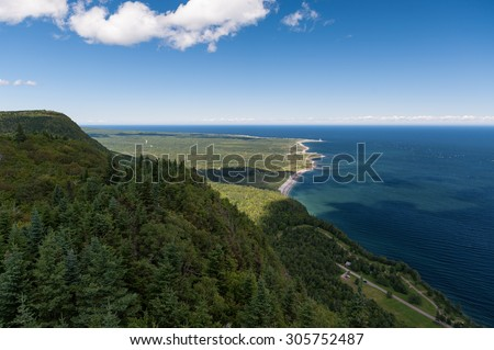 Forillon National Park as seen from the viewpoint atop Mt-St-Alban, Gaspe Peninsula, Quebec, Canada - stock photo