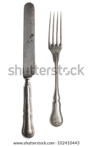 Fork and knife isolated on white - stock photo