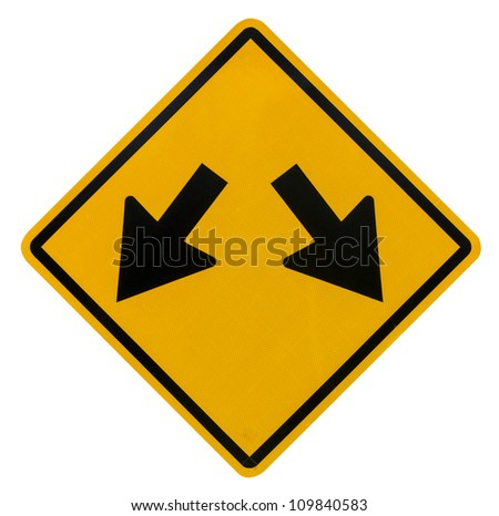 Fork in road sign on white background - stock photo