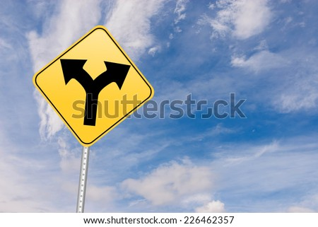 Fork in the road sign.  - stock photo