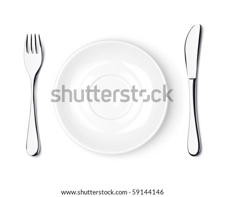 Fork, knife and empty white plate. Isolated on white background - stock photo