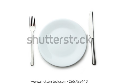 Fork, knife and plate on white background - stock photo