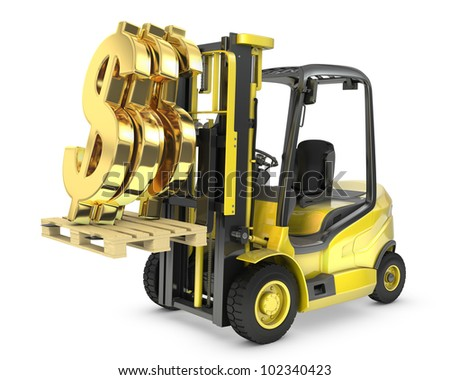 Fork lift truck lifts gold dollar sign, isolated on white background - stock photo