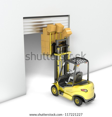 Fork lift truck with high load hits door, isolated on white background - stock photo