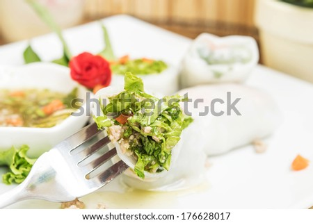 Fork with vietnamese chicken spring rolls. - stock photo