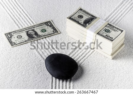 Forked path in zen garden One way to wealth - stock photo
