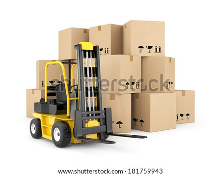 Forklift and cardboard boxes - stock photo