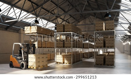 Forklift carrying pallet with boxes in a warehouse (3D Rendering) - stock photo