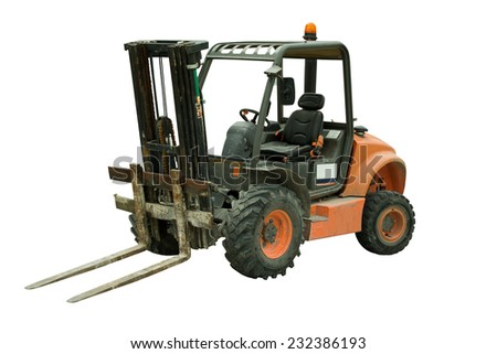 Forklift, forklift on background white - stock photo