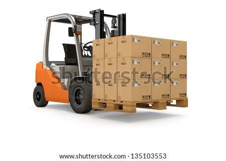 Forklift lifting a pallet of many packages - stock photo