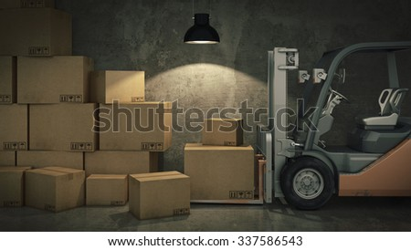 Forklift truck in warehouse or storage loading cardboard boxes. 3d - stock photo