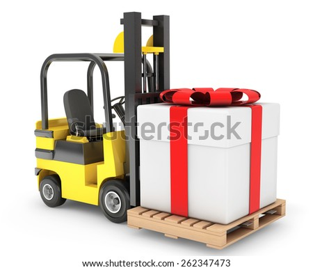Forklift Truck moves Huge Gift Box on a white background - stock photo