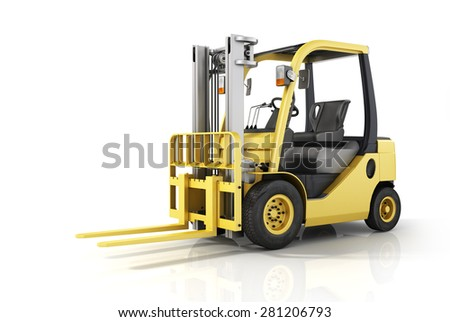 Forklift truck on white isolated background.  - stock photo