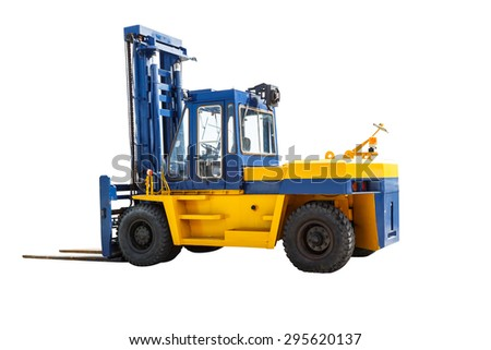Forklift truck on white with clipping path - stock photo