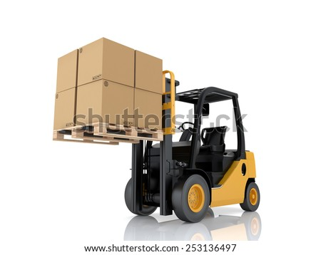 Forklift truck with boxes on pallet. Cargo. 3d render on white background - stock photo