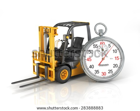 Forklift truck with stopwatch. Fast shipping. Fast loading. - stock photo