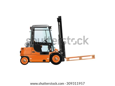 Forklift with cargo on a white background. Raster illustration. - stock photo