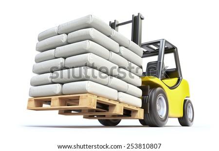 Forklift with white sacks - stock photo