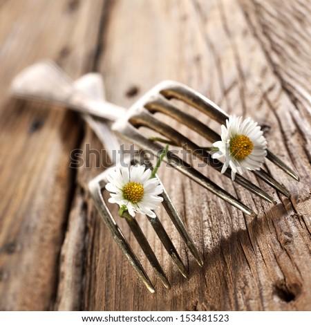 forks on desk  - stock photo