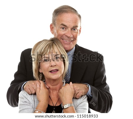 formal couple posing together on white isolated background - stock photo