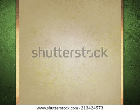 formal elegant light brown paper background with green border and gold ribbon or stripe layers, has vintage distressed texture - stock photo