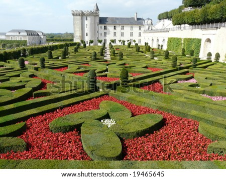 Formal gardens at the Chateau de Villandry in the Loire Valley, France - stock photo