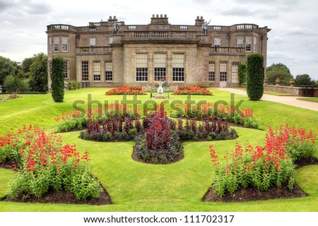 Formal gardens of Lyme Hall historic English Stately Home in Cheshire, England - stock photo