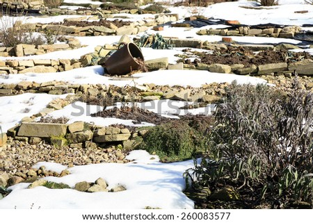 Formal herbs and vegetable country garden. Rustic garden by early spring. - stock photo