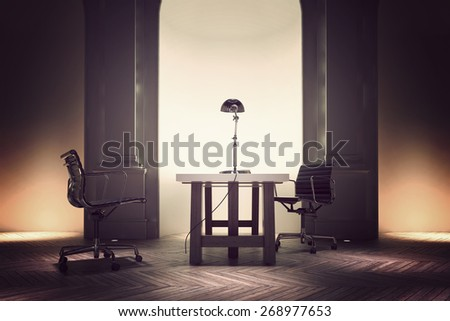Formal office interior of a corporate CEO with a table and two swivel chairs in front of a recessed illuminated wall arch and pillars. 3d Rendering.  - stock photo